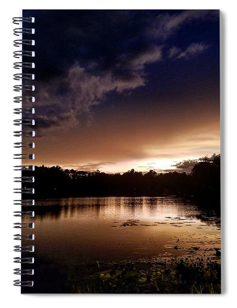 Sunset Spiral Notebook featuring the photograph Dark Reflections by Shena Sanders