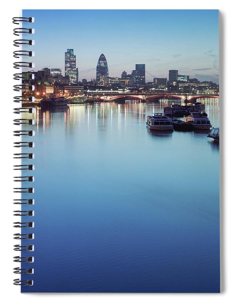Blackfriars Bridge Spiral Notebook featuring the photograph Dawn On The Thames Xxl by Beholdingeye