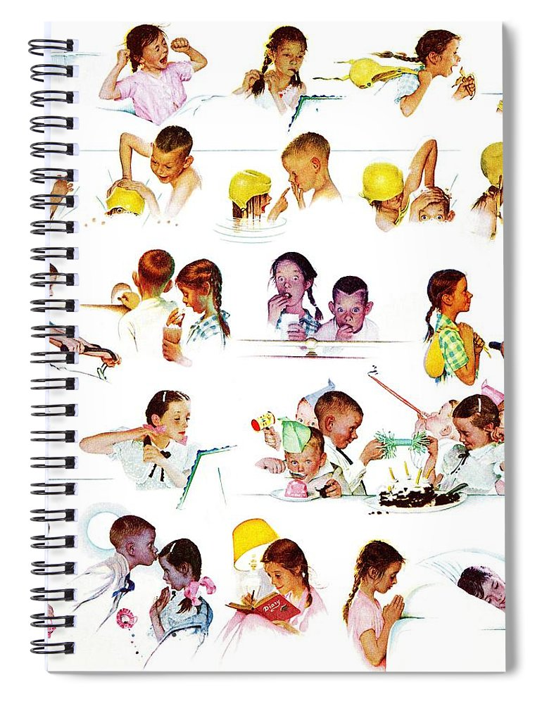 Birthdays Spiral Notebook featuring the drawing Day In The Life Of A Girl by Norman Rockwell