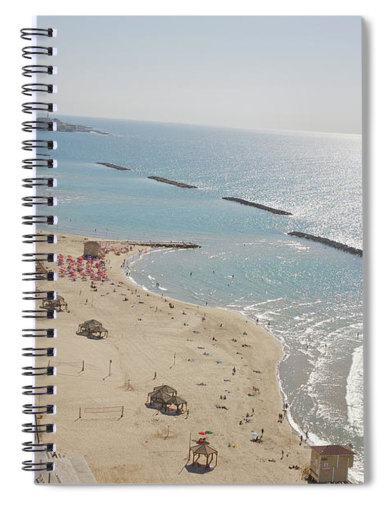 Tranquility Spiral Notebook featuring the photograph Day View Of Tel Aviv Promenade And Beach by Barry Winiker