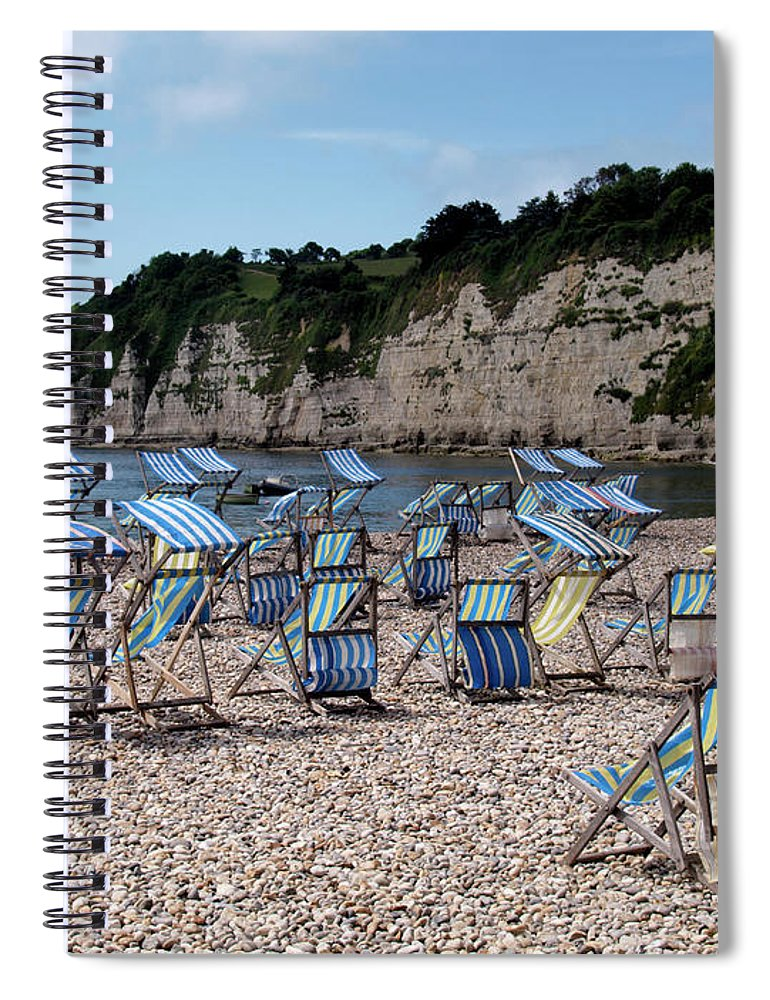 Tranquility Spiral Notebook featuring the photograph Deckchairs At Beer, Devon, Uk 2013 by Nik Taylor