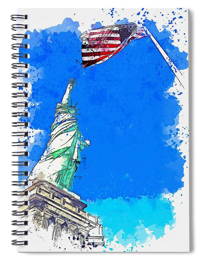 Liberty Spiral Notebook featuring the painting Defending Liberty Watercolor By Ahmet Asar by Ahmet Asar