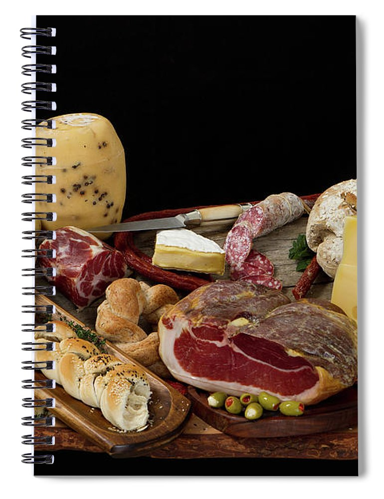 Cheese Spiral Notebook featuring the photograph Delicious Typical Argentinean Antipasto by Ruizluquepaz