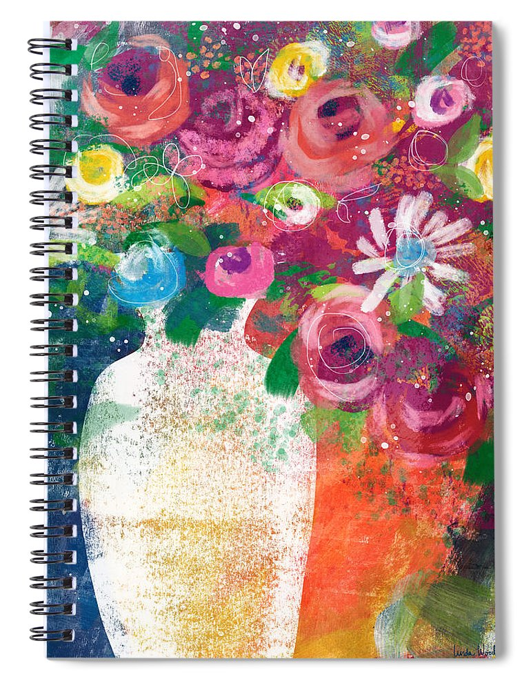 Floral Spiral Notebook featuring the mixed media Delightful Bouquet 2- Art By Linda Woods by Linda Woods