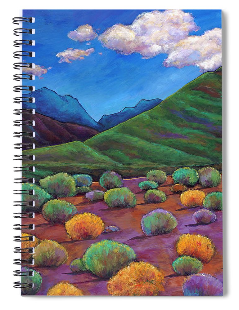 Arizona Spiral Notebook featuring the painting Desert Valley by Johnathan Harris