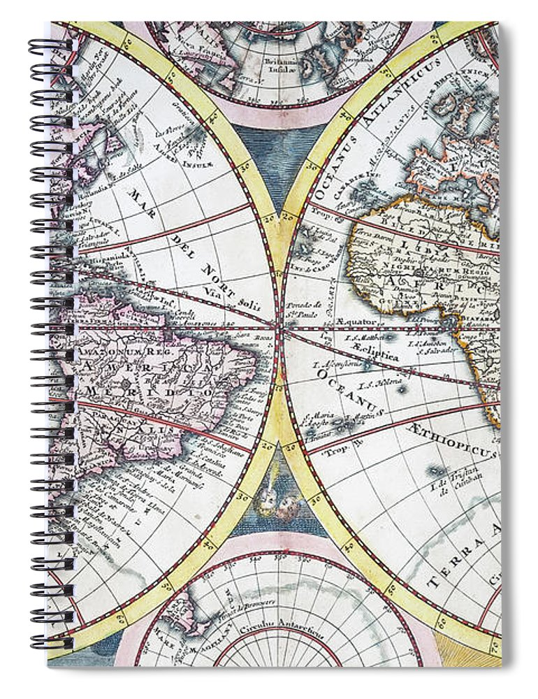 Engraving Spiral Notebook featuring the digital art Detail Copper Engraving Of World Map by Grafissimo