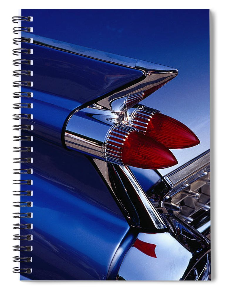 Silver Colored Spiral Notebook featuring the photograph Detail Of An American Cadillac, Eze by Richard I'anson