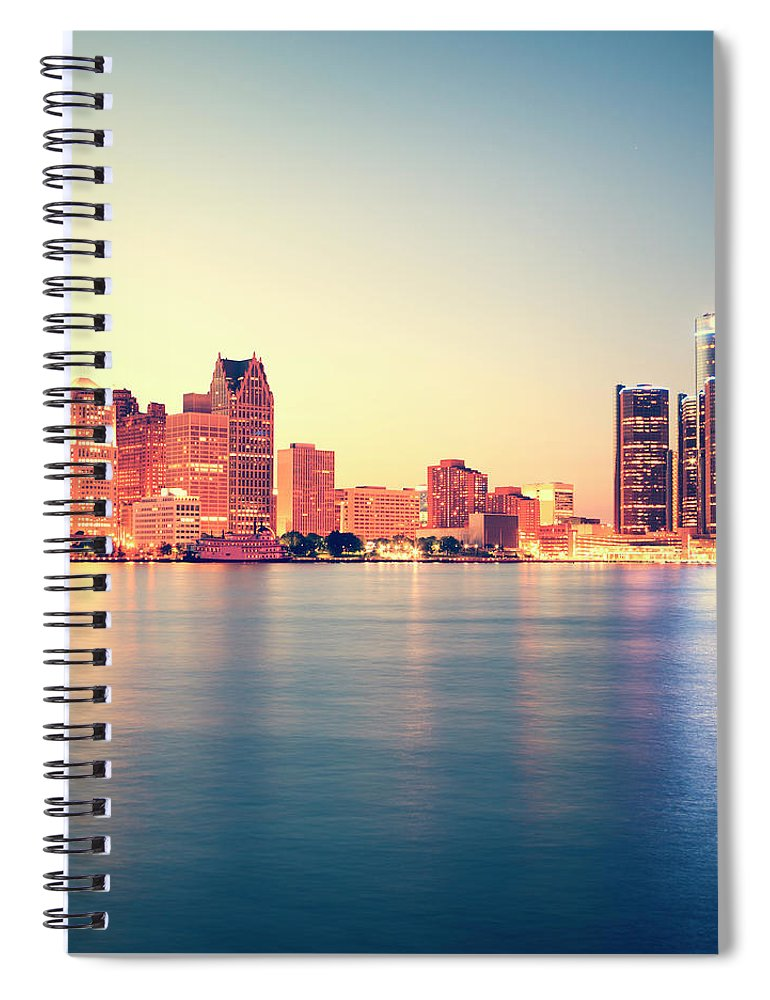 Downtown District Spiral Notebook featuring the photograph Detroit At Sunset by Espiegle