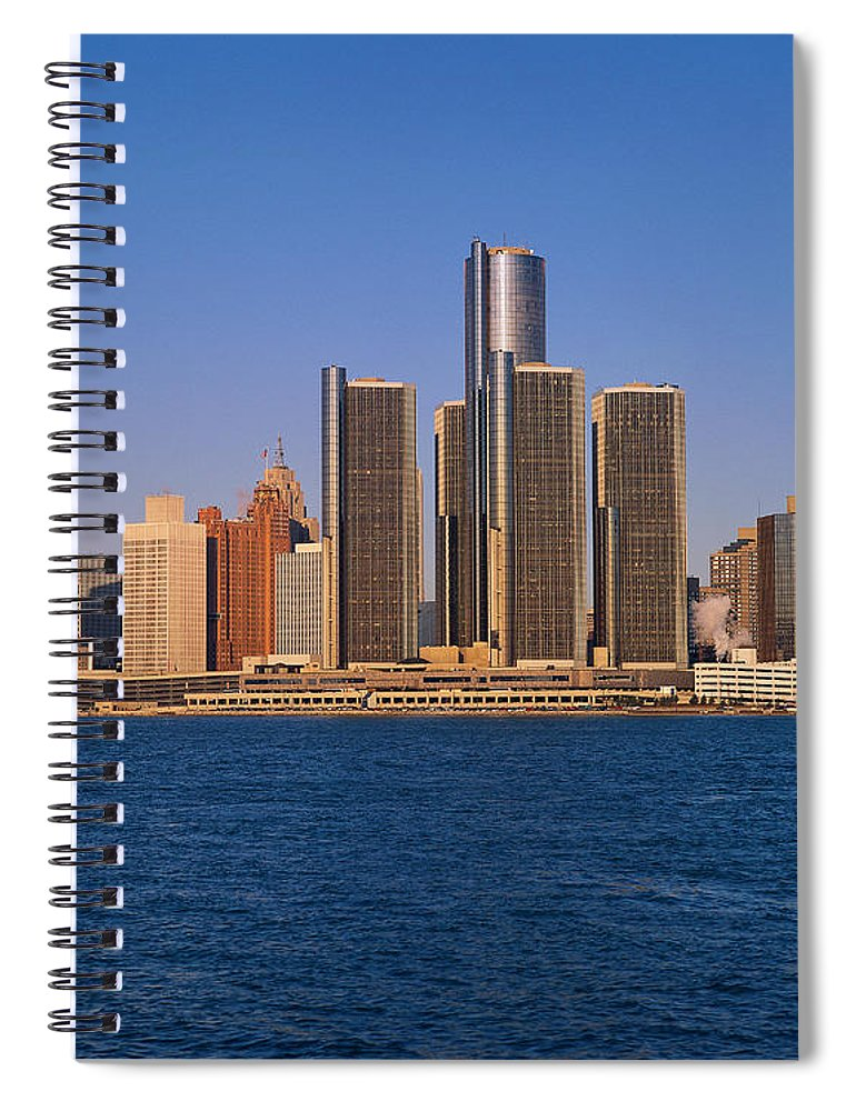 Detroit Spiral Notebook featuring the photograph Detroit Buildings On The Water by Visionsofamerica/joe Sohm