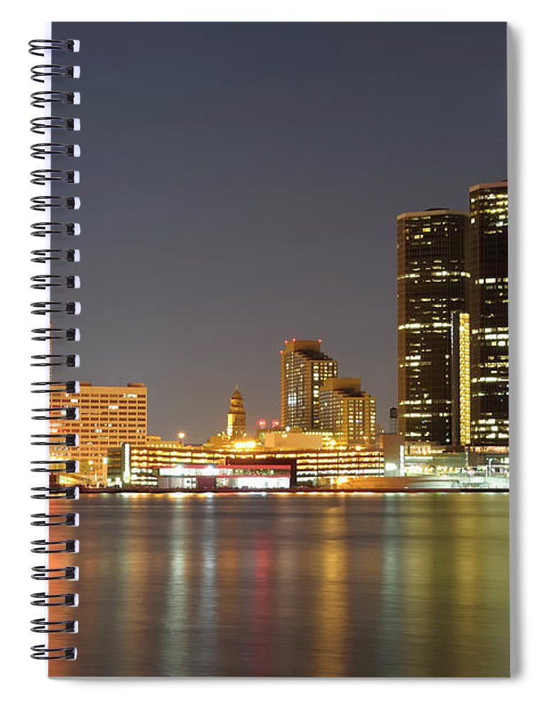 Downtown District Spiral Notebook featuring the photograph Detroit Skyline At Night by Rivernorthphotography