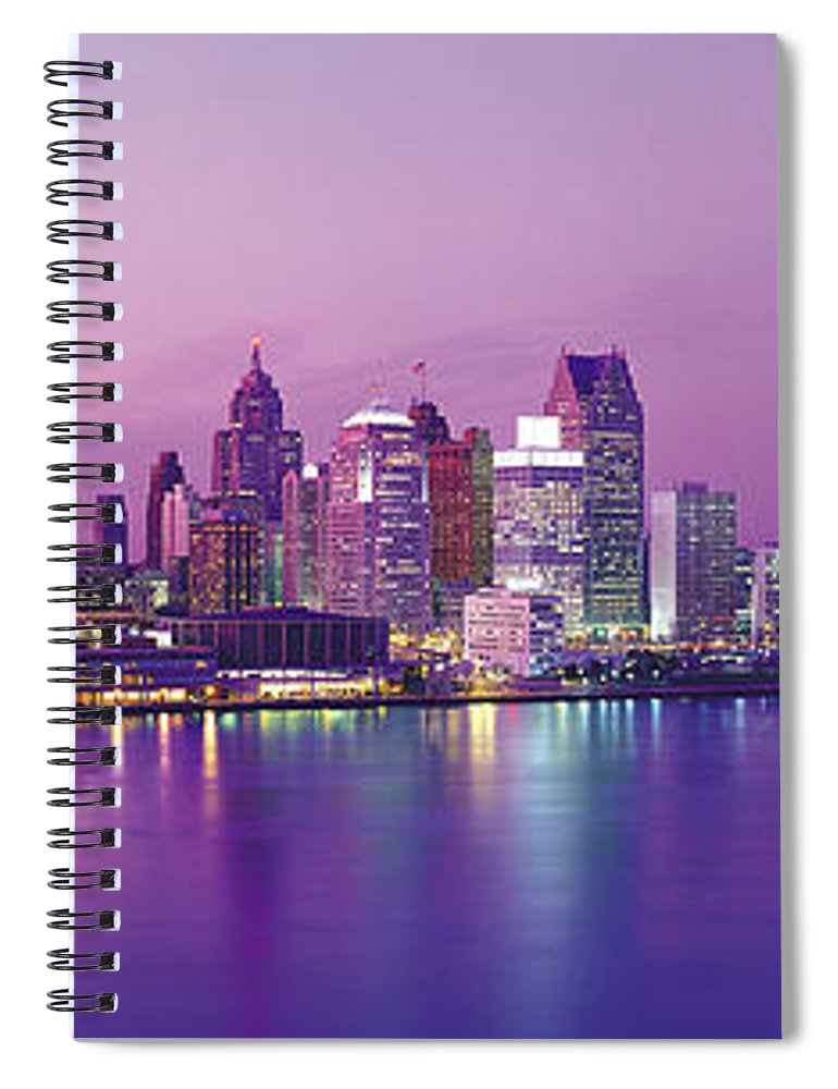 Dawn Spiral Notebook featuring the photograph Detroit Under Purple Sky by Jeremy Woodhouse