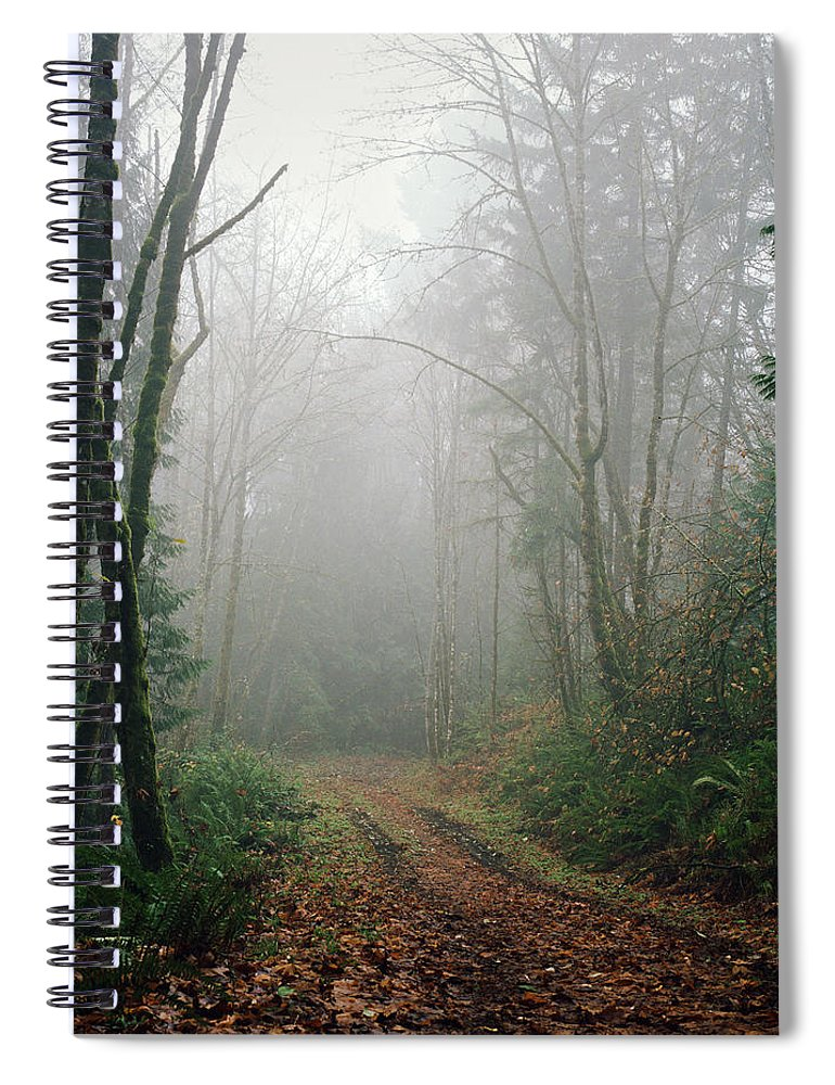 Tranquility Spiral Notebook featuring the photograph Dirt Road Leading Through Foggy Forest by Danielle D. Hughson