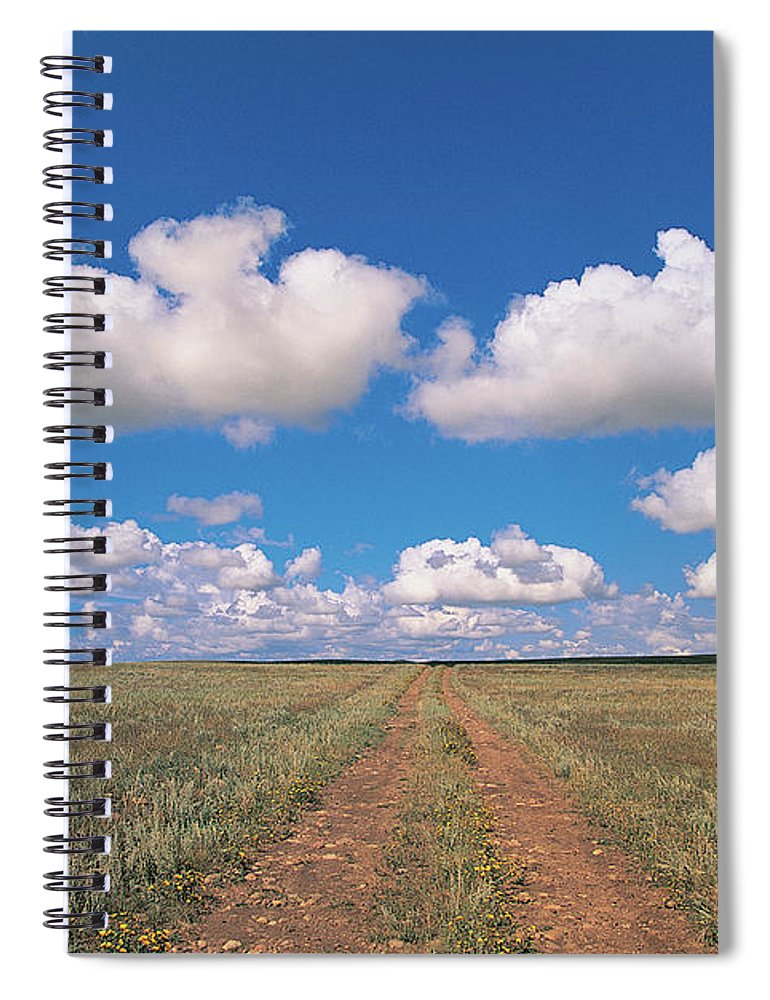 Grainy Spiral Notebook featuring the photograph Dirt Road On Prairie With Cumulus Sky by Mimotito