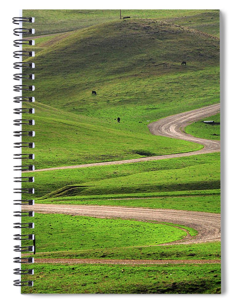 Tranquility Spiral Notebook featuring the photograph Dirt Road Through Green Hills by Mitch Diamond