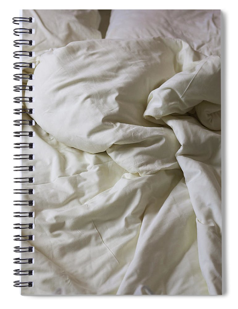 Hotel Spiral Notebook featuring the photograph Discarded Bed, Early Morning by Julio Lopez Saguar