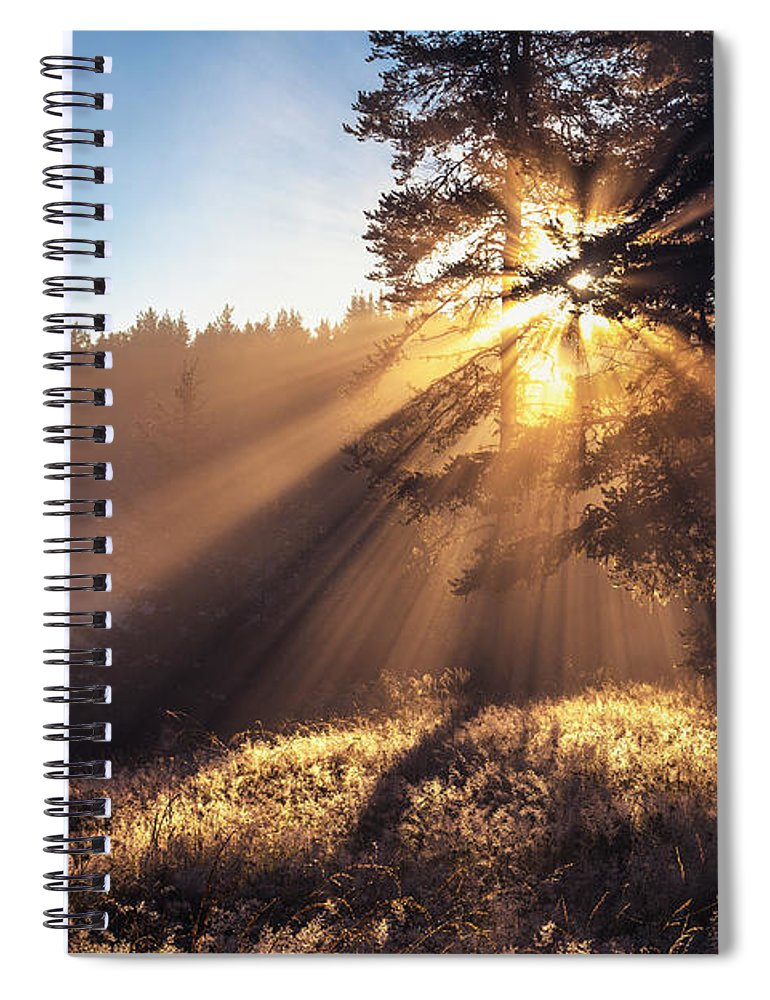 Beglika Lake Spiral Notebook featuring the photograph Divine Beams by Evgeni Dinev