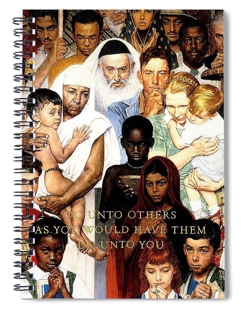 Faith Spiral Notebook featuring the drawing Do Unto Others by Norman Rockwell