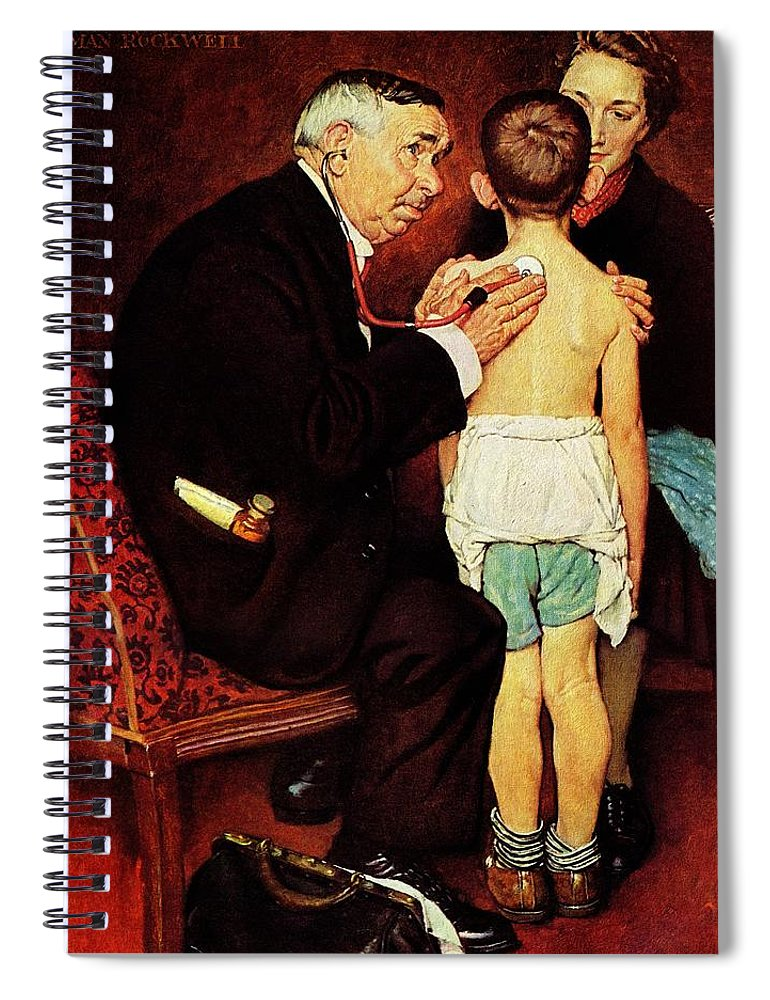 Doctor Spiral Notebook featuring the drawing Doc Melhorn And The Pearly Gates by Norman Rockwell