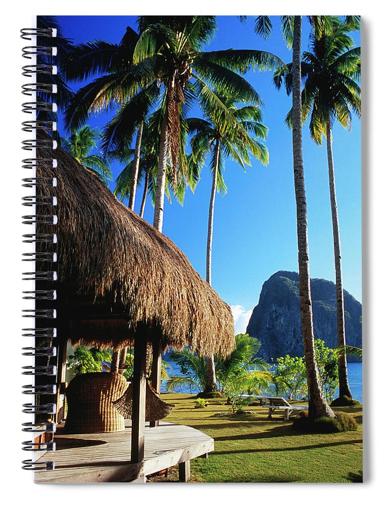Tropical Tree Spiral Notebook featuring the photograph Dolarog Beach Resort With Inabuyatan by Dallas Stribley