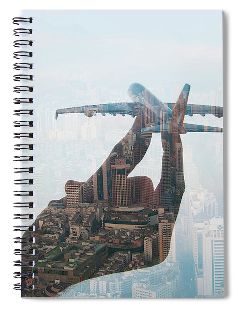 People Spiral Notebook featuring the photograph Double Exposure Of Hand Holding Model by Jasper James