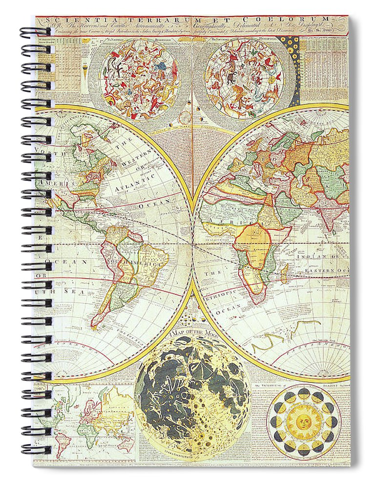 Ancient Spiral Notebook featuring the digital art Double Hemisphere World Map by The Map House Of London