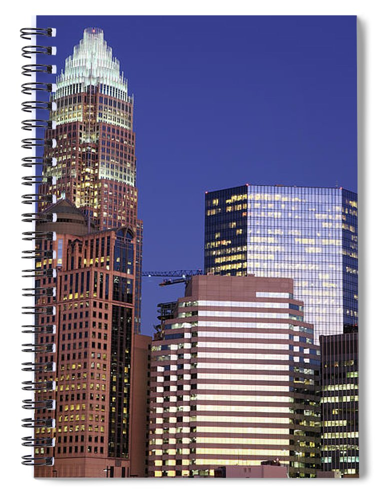 North Carolina Spiral Notebook featuring the photograph Downtown Charlotte, Nc At Night by Jumper