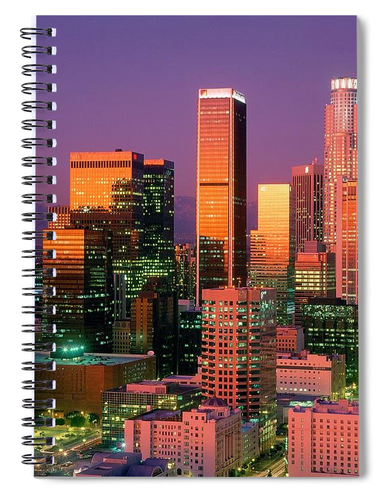 Shadow Spiral Notebook featuring the photograph Downtown Los Angeles Skyline, California by Visionsofamerica/joe Sohm