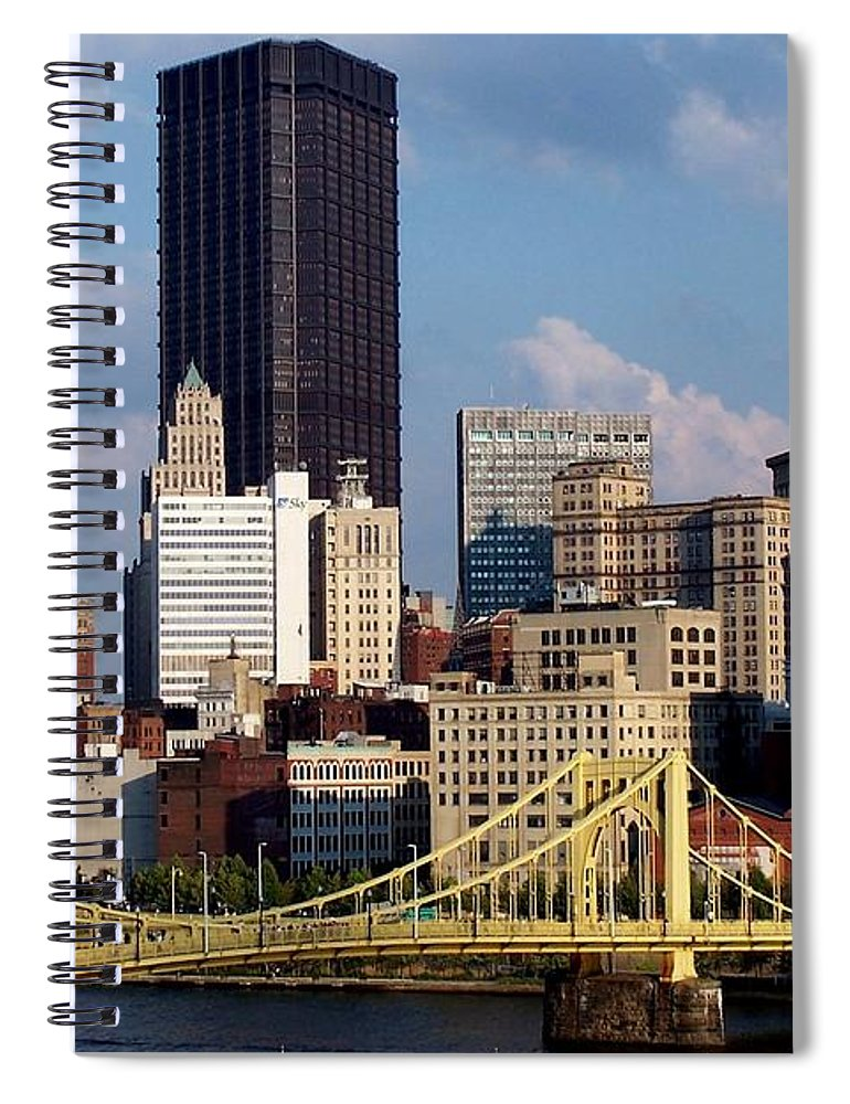 Downtown District Spiral Notebook featuring the photograph Downtown Pittsburgh Panorama From Pnc by Photo By Paul D. Toth