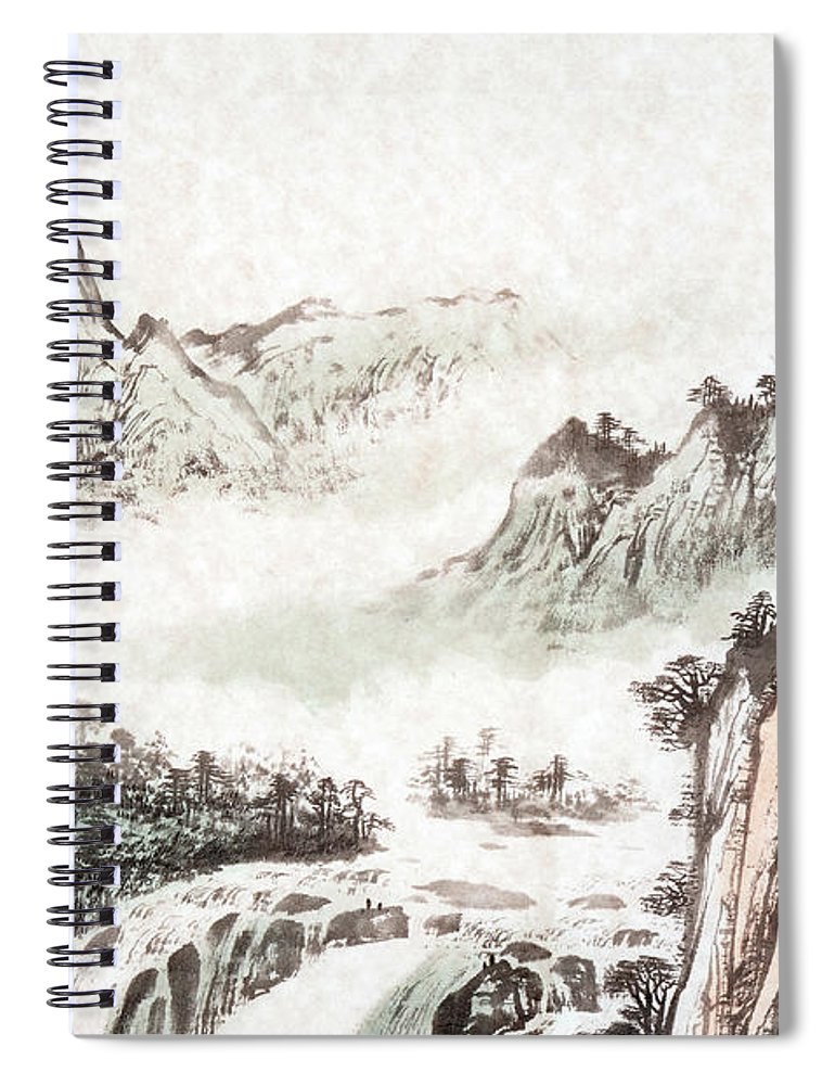 Chinese Culture Spiral Notebook featuring the digital art Drawing Of A Mountain Landscape by Vii-photo