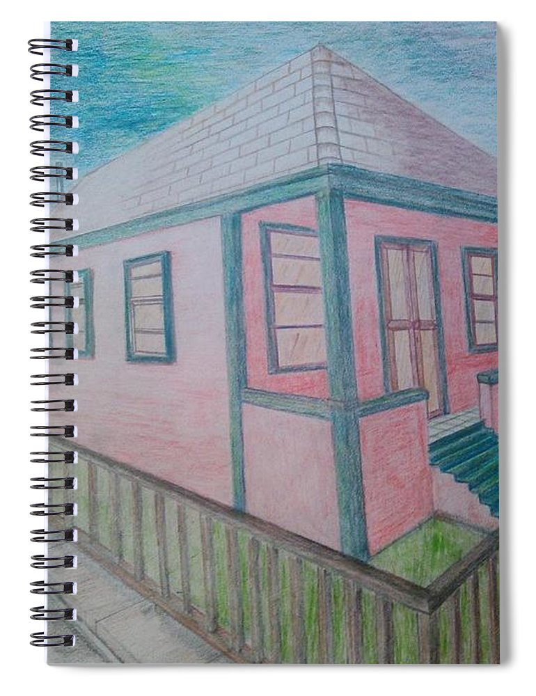 Drawing By Andrew Johnson Spiral Notebook featuring the drawing Dream Cottage by Andrew Johnson