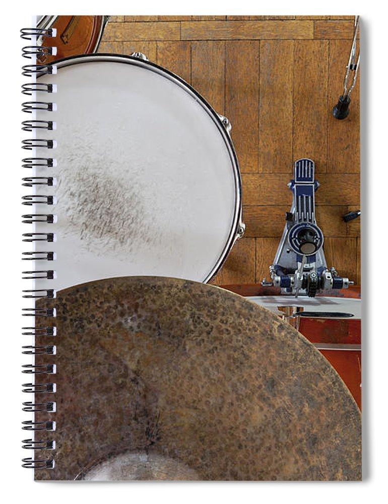 Berlin Spiral Notebook featuring the photograph Drum Kit Arrangement by Halfdark