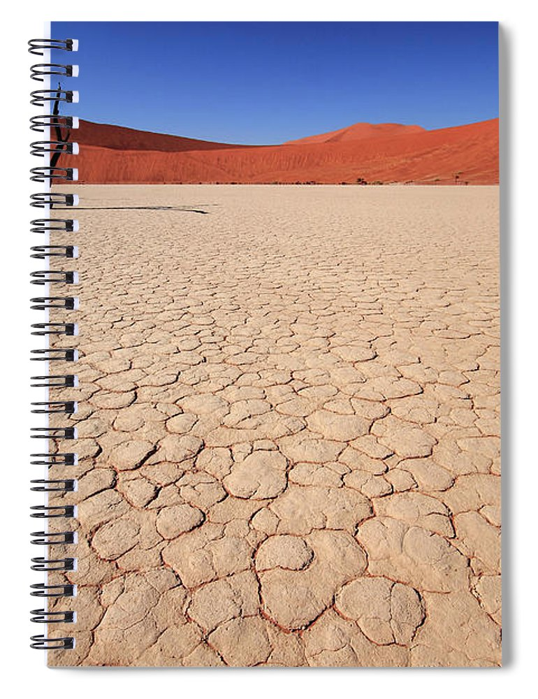 Scenics Spiral Notebook featuring the photograph Dry Pan Of Deadvlei Plus Two Dead Trees by Klaus Brandstaetter