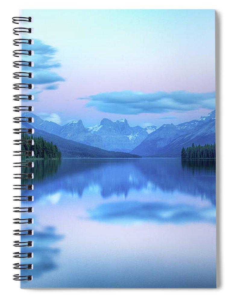 Moraine Lake Spiral Notebook featuring the photograph Dusk On Maligne Lake by Bike maverick