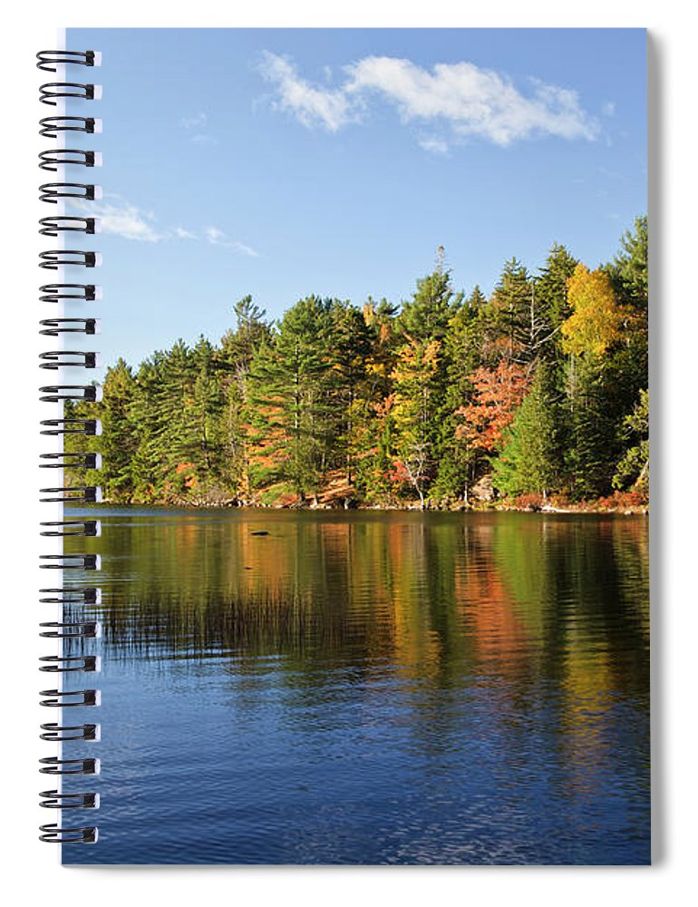 Scenics Spiral Notebook featuring the photograph Eagle Lake Autumn Morning, Acadia by Picturelake