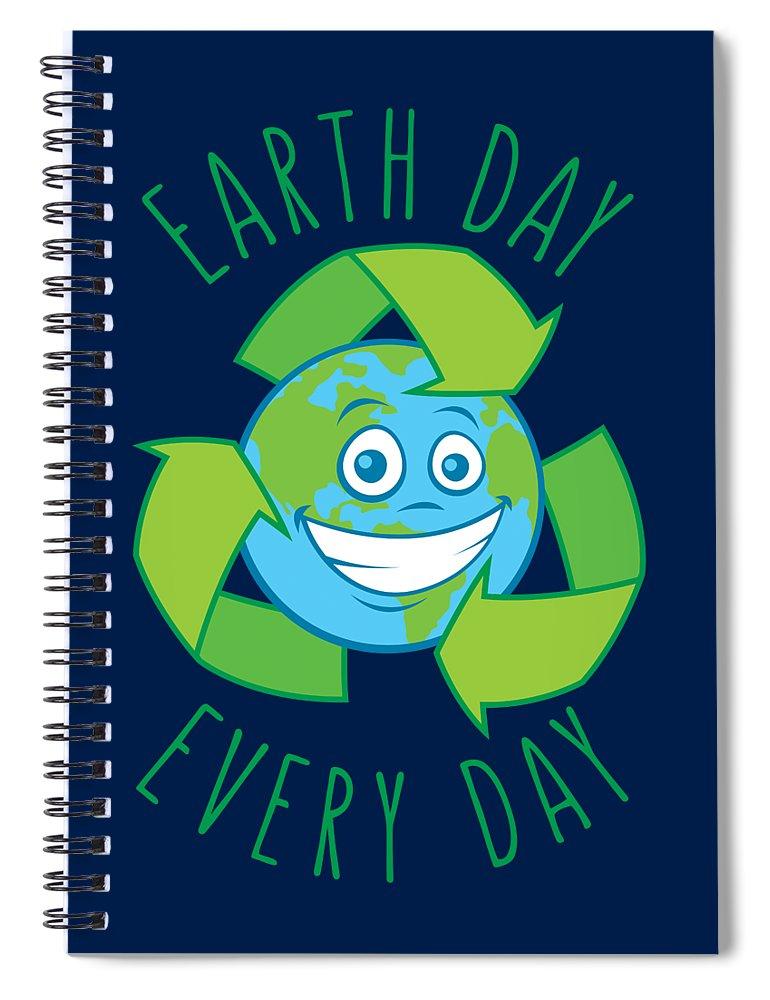 Green Spiral Notebook featuring the digital art Earth Day Every Day Recycle Cartoon by John Schwegel