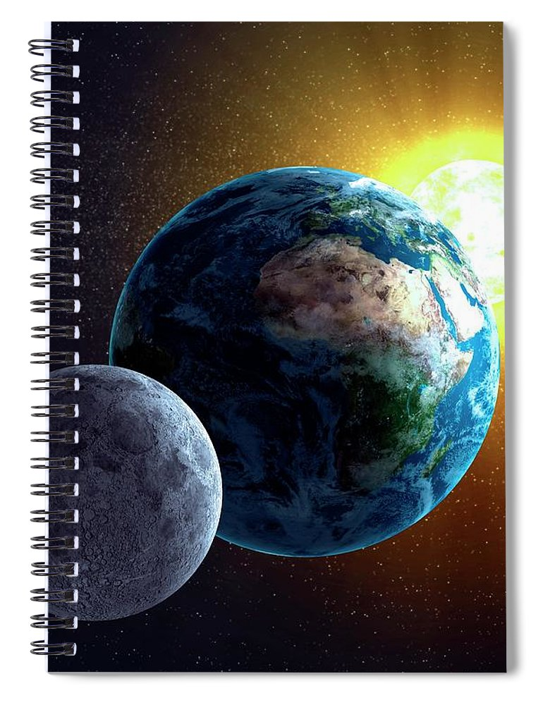 Solar System Spiral Notebook featuring the digital art Earth, Moon And Sun, Artwork by Science Photo Library - Andrzej Wojcicki