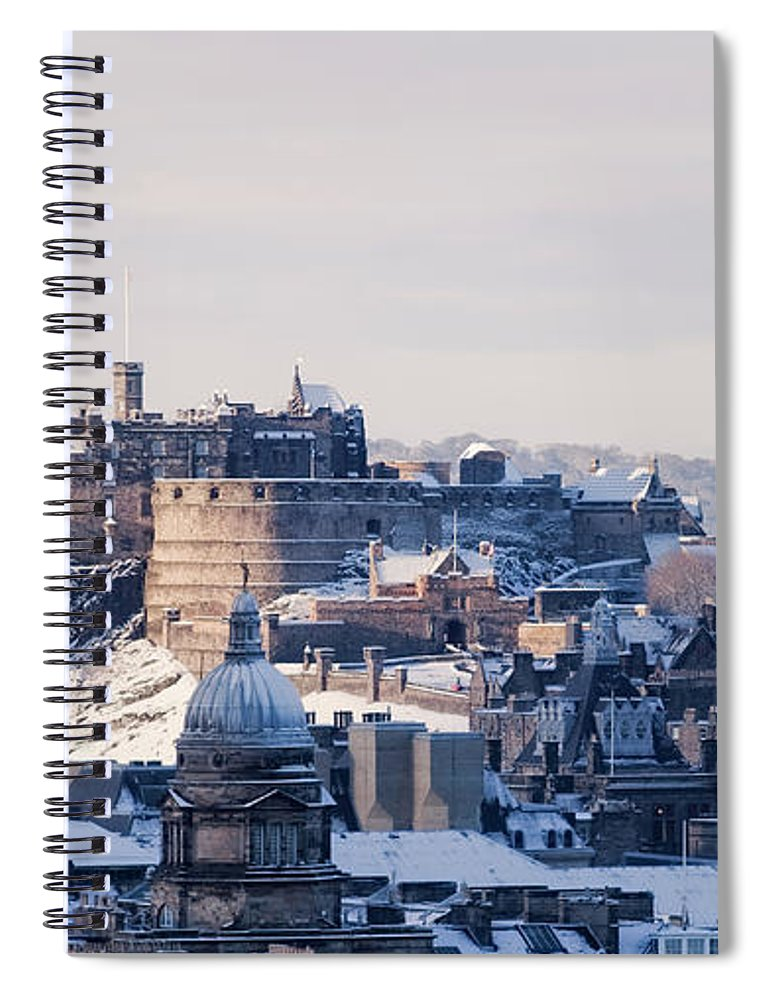 Snow Spiral Notebook featuring the photograph Edinburgh Castle by Davidhills
