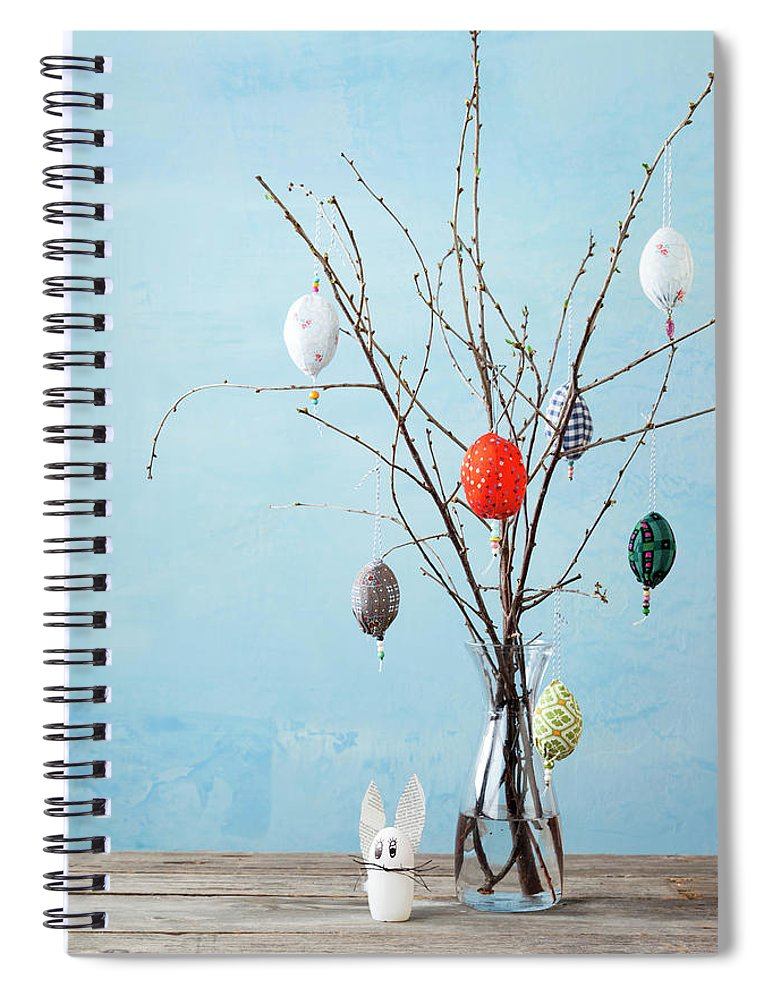 Holiday Spiral Notebook featuring the photograph Egg-shaped Decorations On Branches by Stefanie Grewel