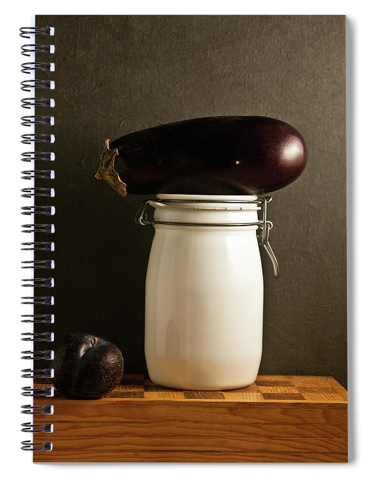 Plum Spiral Notebook featuring the photograph Eggplant, Plum And Jar Still Life by Marilyn Conway