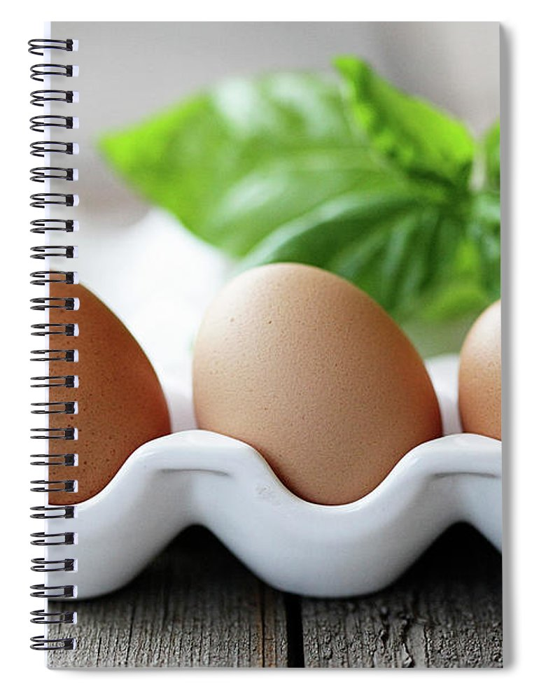 In A Row Spiral Notebook featuring the photograph Eggs And Basil On Table by Barbaracarrollphotography