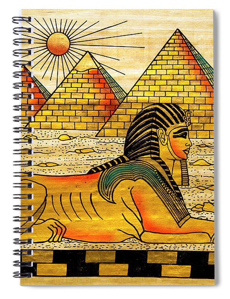Ancient History Spiral Notebook featuring the digital art Egyptian Souvenir Papyrus by Ewg3d