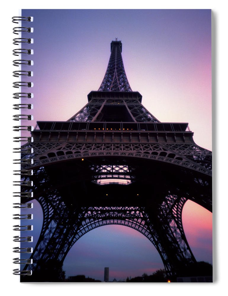 Arch Spiral Notebook featuring the photograph Eiffel Tower At Sunset by Zeb Andrews