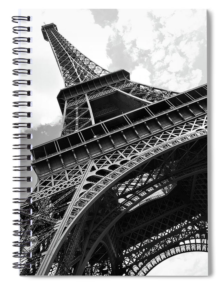 Black Color Spiral Notebook featuring the photograph Eiffel Tower In Black And White by Sarah8000