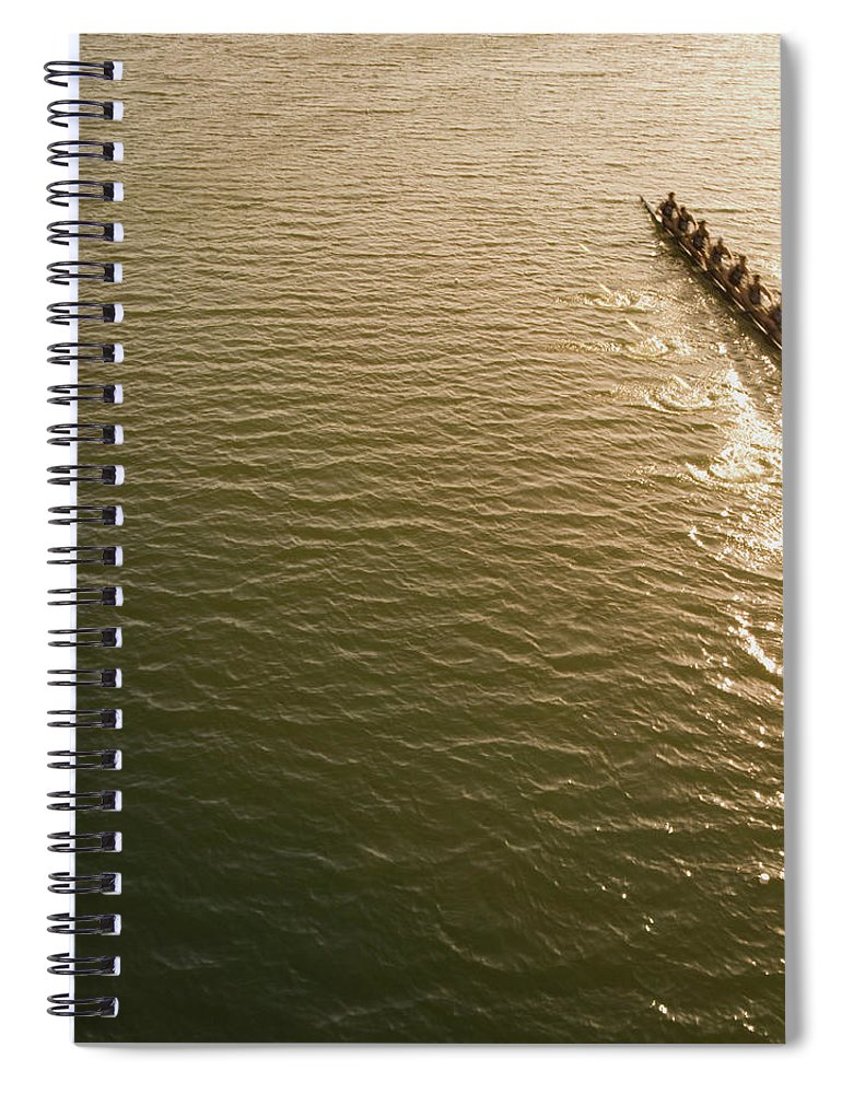 Sport Rowing Spiral Notebook featuring the photograph Eight Person Rowing Team In Shell With by David Madison