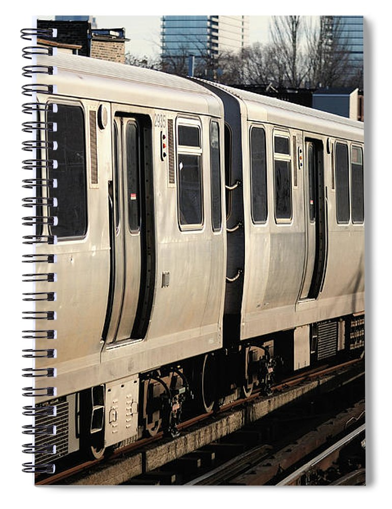 Railroad Track Spiral Notebook featuring the photograph Elevated Train Descends Into Subway by Bruce Leighty