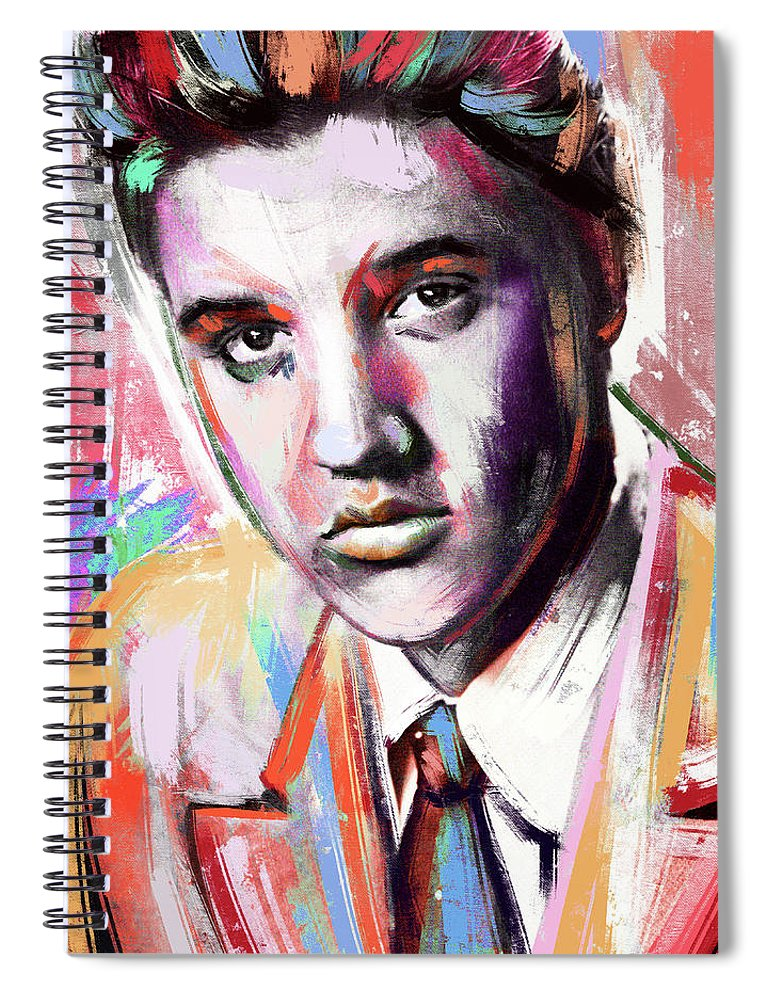 Elvis Spiral Notebook featuring the painting Elvis Presley painting by Stars on Art