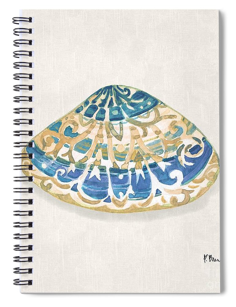 Watercolor Spiral Notebook featuring the painting Embellished Shells Iv - Neutral by Paul Brent