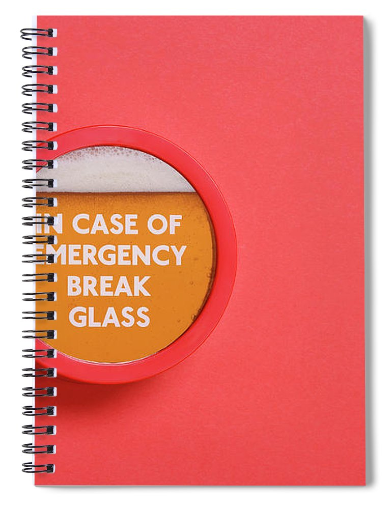 Coral Colored Spiral Notebook featuring the photograph Emergency Beer by Andrew Paterson