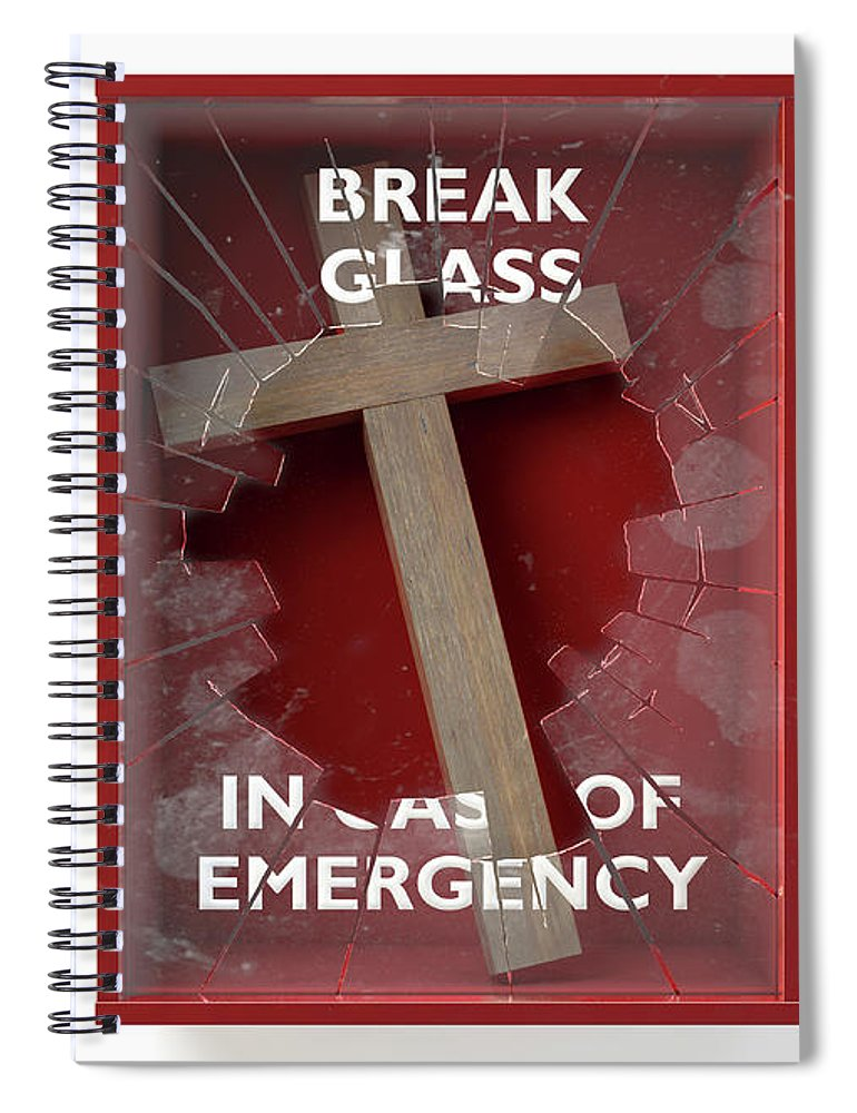 Box Spiral Notebook featuring the digital art Emergency Red Box With Crucifix by Allan Swart