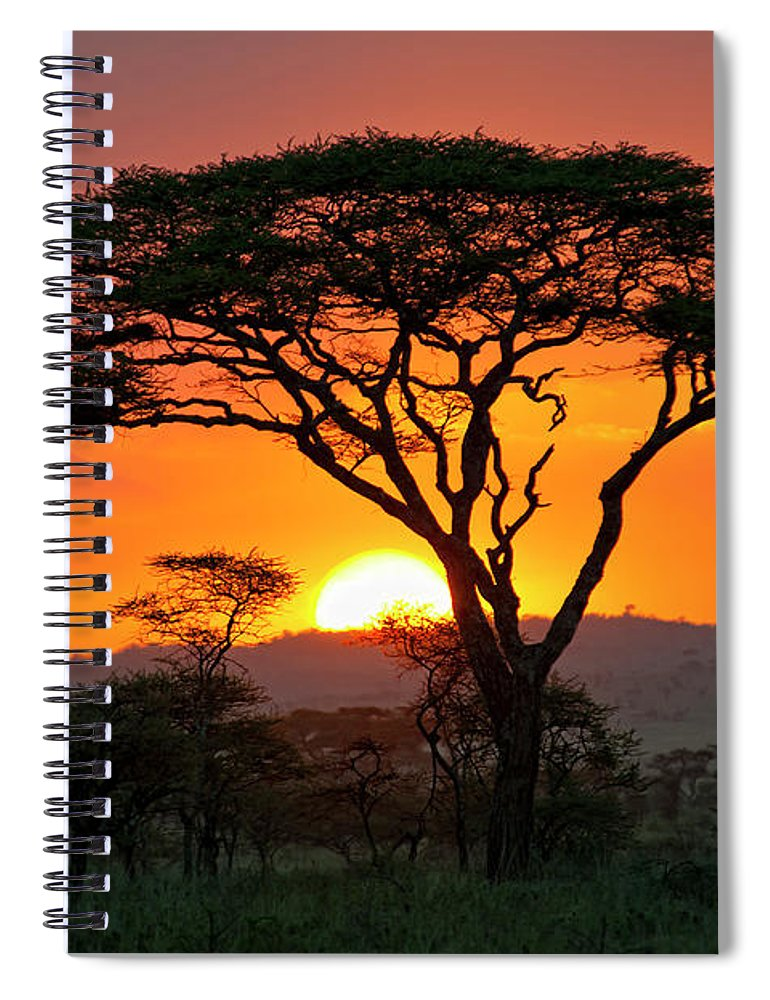 Scenics Spiral Notebook featuring the photograph End Of A Safari-day In The Serengeti by Guenterguni